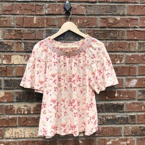NWT GAP Pink Floral Smocked Neck Blouse Top small